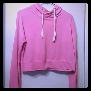 Hot pink cropped hoodie XS